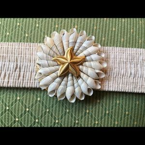 🐚 Natural color Stretch Belt w/Shell Buckle